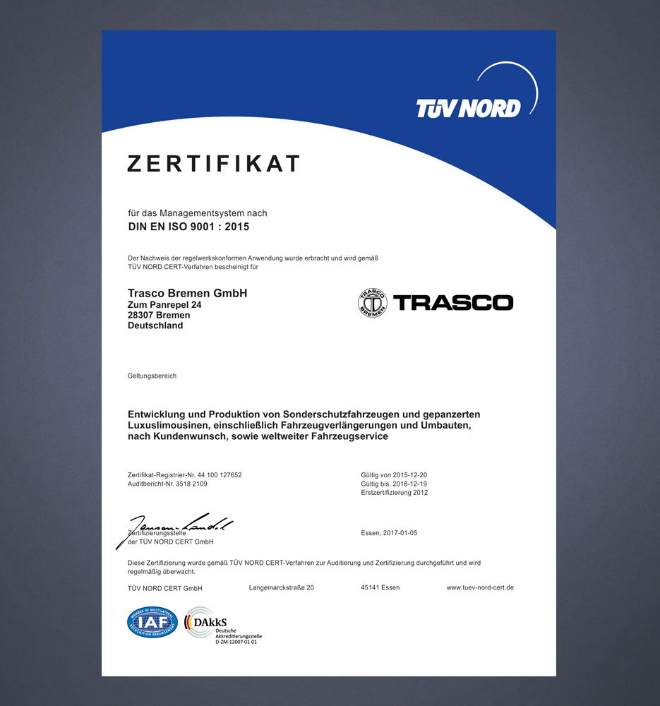 Certification - Trasco-Bremen